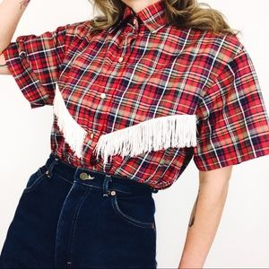 Vintage ✨ Western Fringed Button-Front Top
